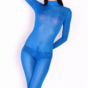 Image 3 - Plus Size Ice Silk Transparent Bodystocking Sexy Hot Erotic Lingerie One Piece Zip Open Crotch Bodysuit Teddies Catsuit Overalls