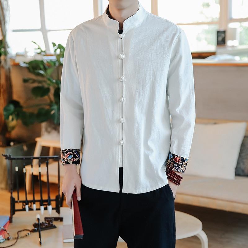 #4546 Printemps Chemise à Manches Longues Hommes Coton Lin Noir Blanc Gris Mandarin Col Chinois Style Chemises Mâle Grande Taille 5xl Décontracté Une Performance SupéRieure