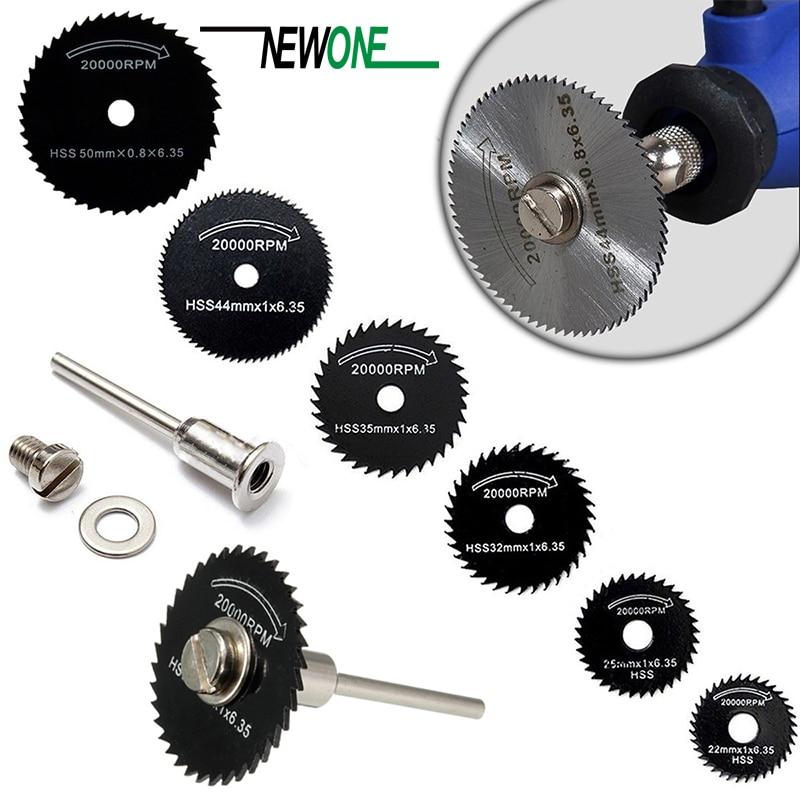 6 Saw Blade +1pc Pole Hss High-speed-steel Circular Rotary Blade Wheel Discs Mandrel For Metal Dremel Tools Wood Cutting Saw