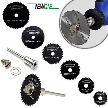 6 lames de scie + 1 unité de disques de roue à lame rotative circulaire en acier rapide Hss mandrin pour outils de métal Dremel scie à bois