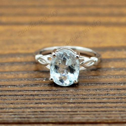 Women Engagement Wedding Ring 1.2ct Natural Aquamarine Solid 14k White Gold 6x8mm Oval Fine Jewelry