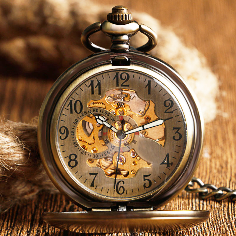 Self Wind Pocket Watch Copper Fashion Bronze Pendant Smooth Retro Skeleton Unisex Automatic Mechanical Stylish Thanksgiving Gift k colouring women ladies automatic self wind watch hollow skeleton mechanical wristwatch for gift box