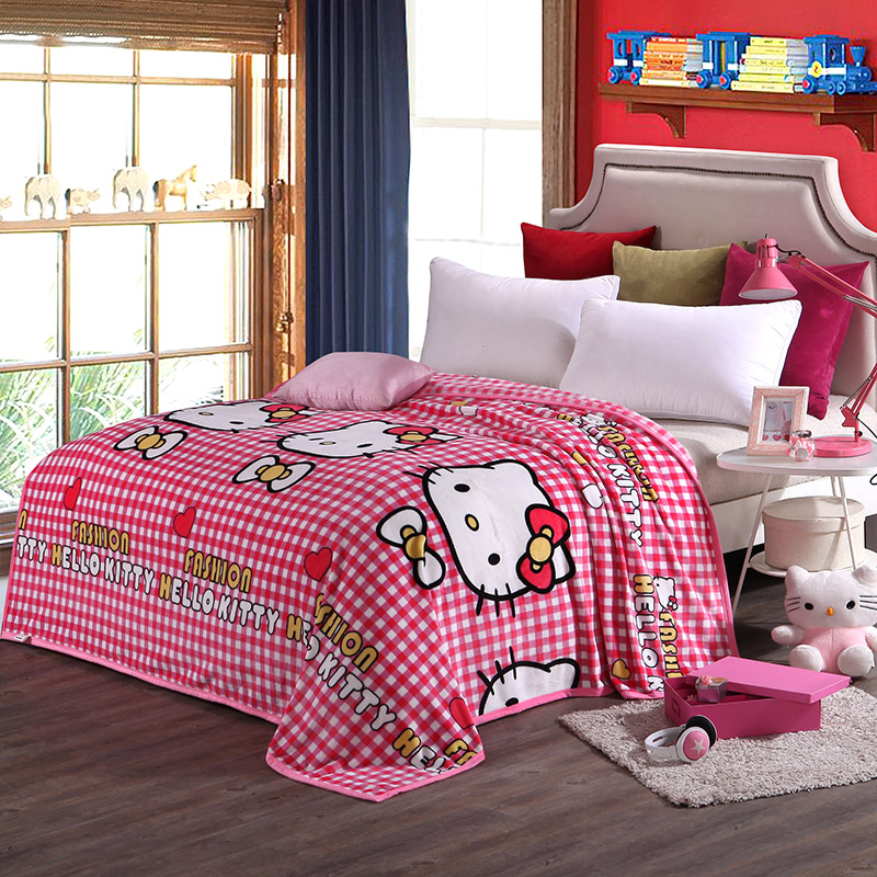 Children Pink Hello Kitty Cartoon Plush Blanket on the Bed Soft <font><b>Sofa</b></font> Throw Blanket Brand Twin Full Queen King Size Blanket Sheet