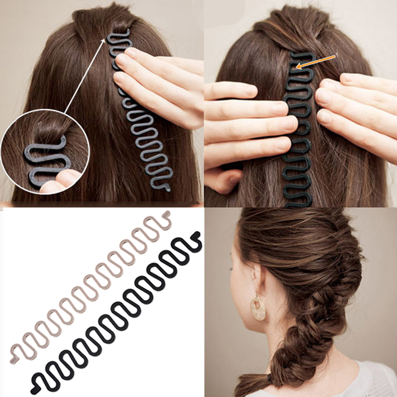 Styling Tools 10pcs Women Fashion Hair Clip Braiding Fish Bond Hook Wave Braider Tool Roller With Hair Twist Styling Bun Maker Band Accessory