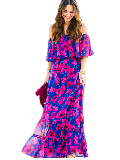 Plus Size summer dress 2019 Bohemian robe Sexy Off Shoulder Ruffle floral  maxi dress women casual boho chiffon beach dress 4461683a01c3