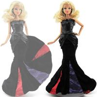 High Quality Fishtail Dress Evening Party Gown Black Long Princess Skirt Clothes For Barbie Doll DIY Accessories Baby Gift Toy