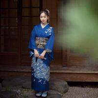 Classic Ladies Print Robe With Obi Vintage Japanese Kimono Gown Traditional Yukata Blue Elegant Evening Dress Cosplay Costume