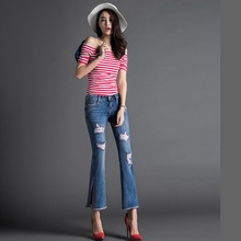 Spring and Autumn Women  Nine points Slim Split Hole boot cut pant jeans