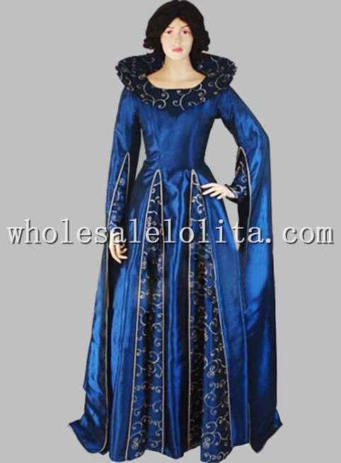 Готическое голубое платье сценический костюм в викторианском стиле с принтом - Цвет: Синий