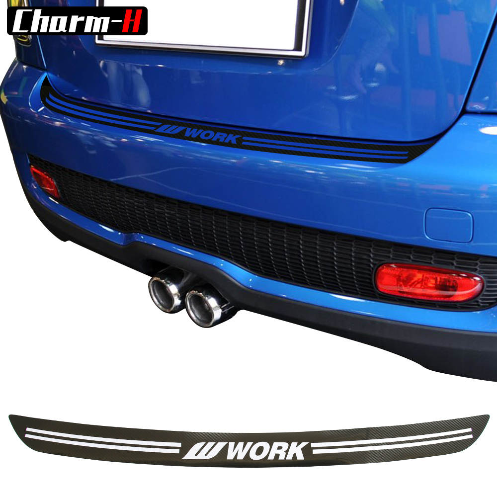 5D carbon fibre Vinyl Car rear bumper Trunk load edge Protector guard Trim Decal stickers for MINI Cooper S JCW R56 Cabrio R57