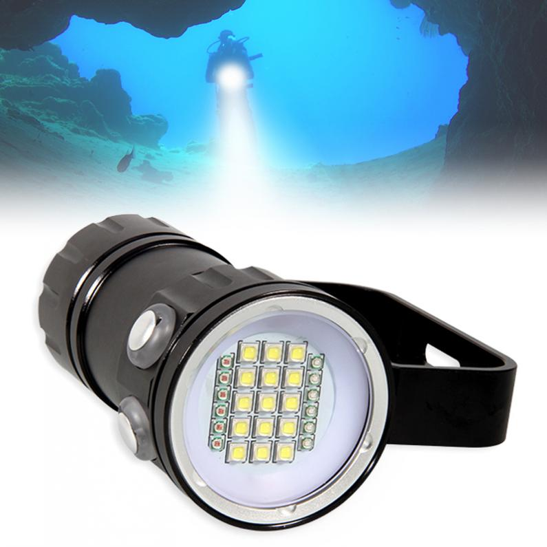 QH27 Fifteen 5050 White XML2 Six XPE Red R5 Six XPE Blue R5 Underwater 80m Scuba Diving Canister Light with 3 Modes Flashlight qh14 300w 28800 lumens six 9090 white xml2 four xpe red r5 four xpe blue r5 led diving light with 7 modes flashlight