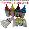 T1291-1294 Refillable ink cartridge for EPSON Stylus SX230 SX235W SX420W SX425W SX430W SX435W SX438W + for EPSON Dey ink 400ML