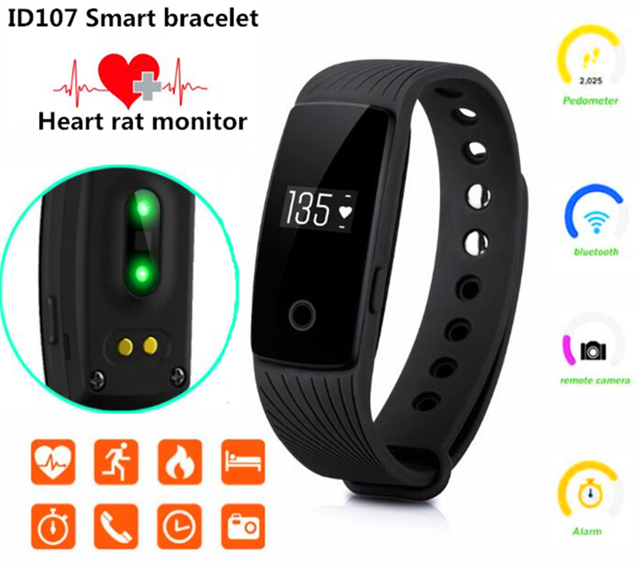ID107 Bluetooth 4.0 Smart Bracelet Band Heart Rate Monitor ...