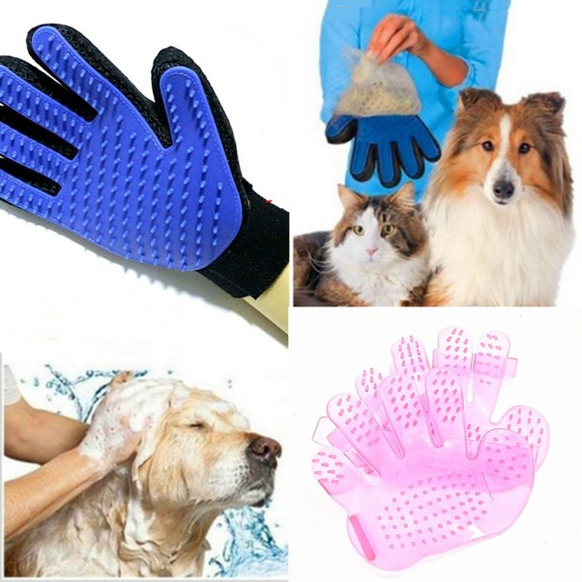 Pink&blue High-quality Dog Accessories Silicone Pet Brush Glove Dog Bath Pet Cleaning Supplies Pet Silicone Glove Dog Combs