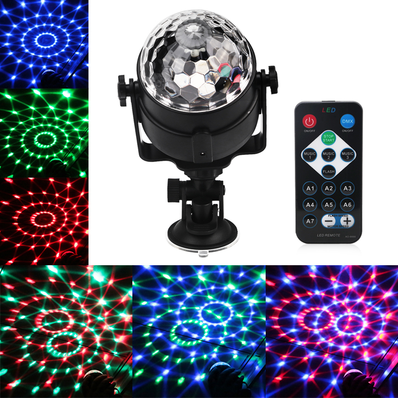 Mini RGB LED Crystal Magic Ball Stage Effect Lighting Lamp Bulb Sound Activated Projector Party Disco Club DJ Light Show Lumiere mini rgb led stage light 3w remote controls light disco ball lights led party lamp show stage lighting effect usb powered dv 5v