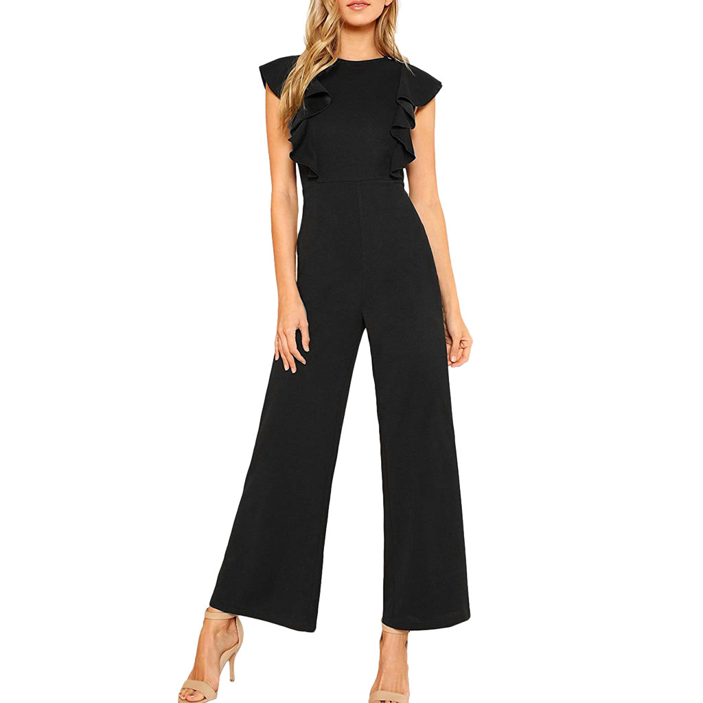 Feitong Summer Elegant Womens   Jumpsuits   O-Neck Loose Casual Solid Ruffles Trousers Chiffon Sleeveles Loose High Waist   Jumpsuits