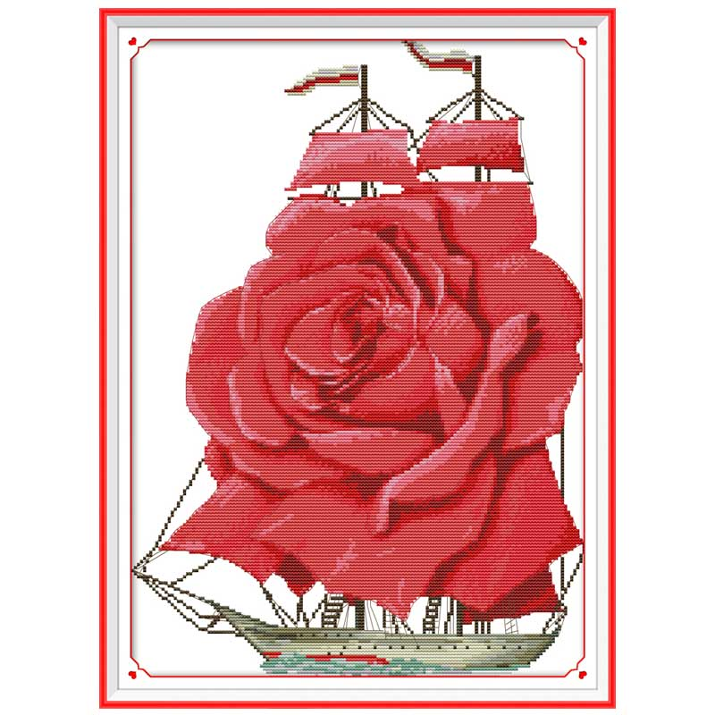 Love is smooth sailing scenerycounted DMC 11CT 14CT DIY kit Chinese wholesale Cross Stitch embroidery needlework Sets home decor