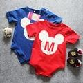 Hola Lindo Recién Nacido Mamelucos Del Bebé de Manga Corta de Mickey Mouse Ropa de Bebé 100% Algodón Muchachas de Los Bebés de Los Mamelucos Traje Ropa Bebe