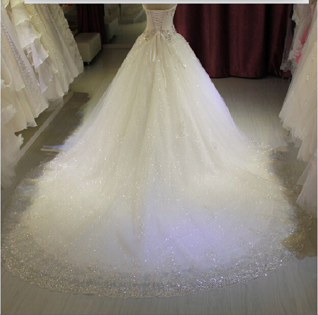 free shipping casamento new fashionable luxury crystal sexy vestido de novia long sweetheart wedding Dress 2016 ball bridal gown in Wedding Dresses from Weddings Events