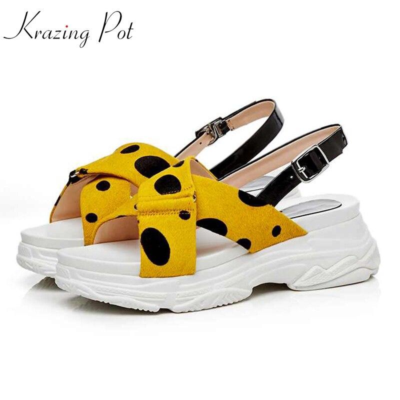 Krazing Pot dot pattern horsehair streetwear buckle straps open toe British school wedges gladiator cozy platform