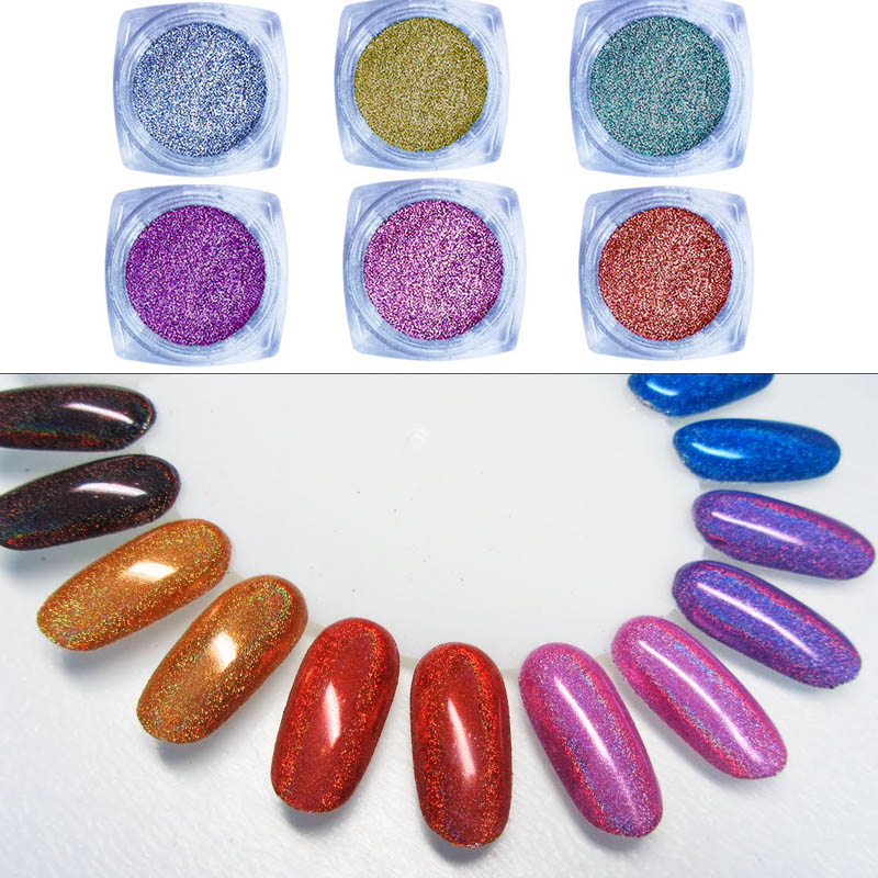 Image 2 - 1g  Holo Nail Art Glitter Extra Fine holographic Nail Glitter Dust  Nails Polish Powder Manicure Nail Accessories-in Nail Glitter from Beauty & Health