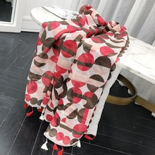 MARC Scarf female spring new cotton silk Red decorative blue dot tassel long scarf shawl scarf Dot 2019 Tassel geometry tassel edge scarf