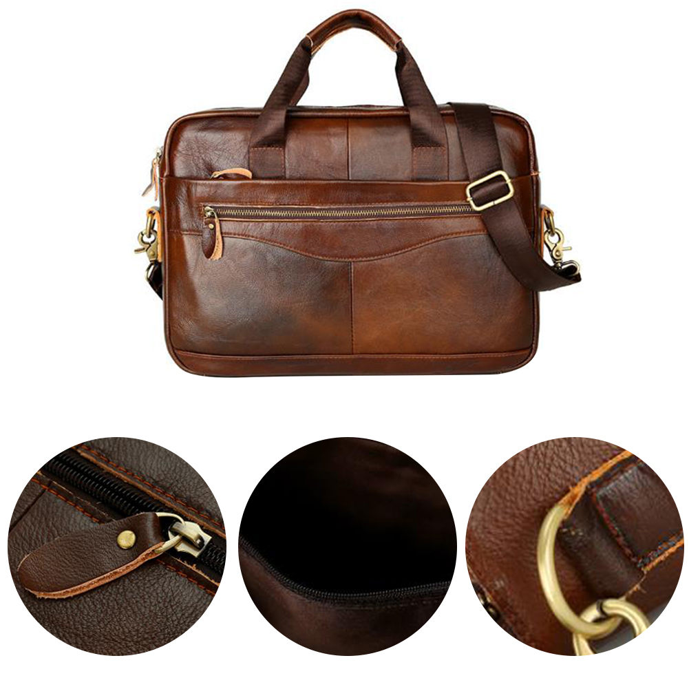 Zipper Work Multifunction With Strap Handbag Portable Business Case Men Briefcase Artificial Leather Square Large Capacity Solid