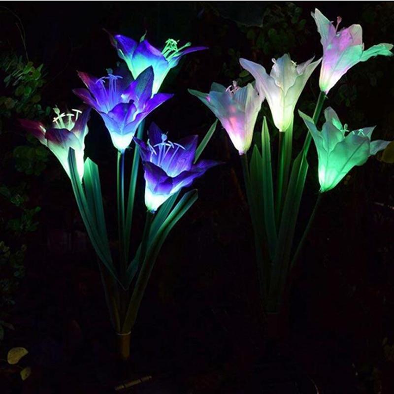 Solar Lights For Garden Decoration LED Solar Lamp Colorful Lily Flower Christmas Outdoor Lighting Waterproof Solar Light (1)