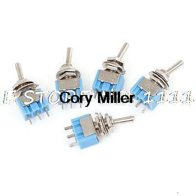 5 x Blue 2 Position SPDT On Off 3 Way Self Locking Toggle Switch AC 125V 6A 5pc lot free shipping new long flat handle 3 pin on off on spdt cqc rohs silvery point rocker toggle switch ac 6a 125v 3a 250v