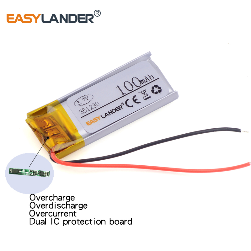 3.5x12x30mm 3.7V 100mAh Rechargeable Li Polymer Battery For MP3 MP4 Game Player Mouse GPS PSP Lampe Speaker 351230 351030