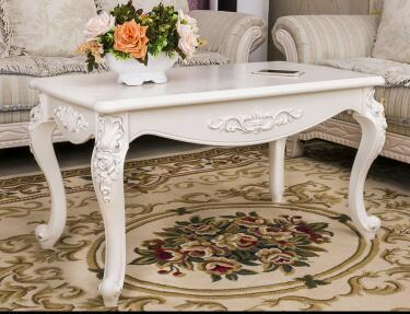 Ivory White Coffee Table Solid Wood