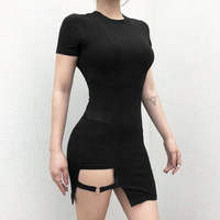 JIEZuoFang Sexy dress women gothic black solid pencil dress stretch ladies skinny streetwear solid women club new fashion