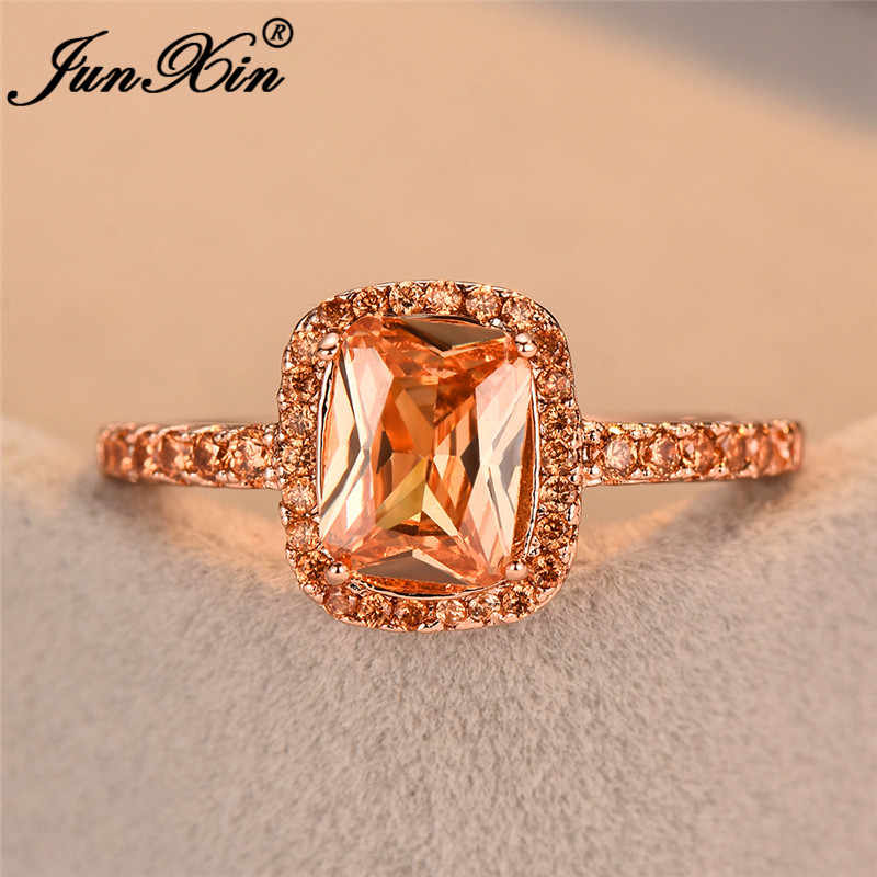 JUNXIN Princess Square Zircon Champagne Rings For Women 925 Silver/Rose Gold Filled Purple Blue Birthstone Ring Female Wedding