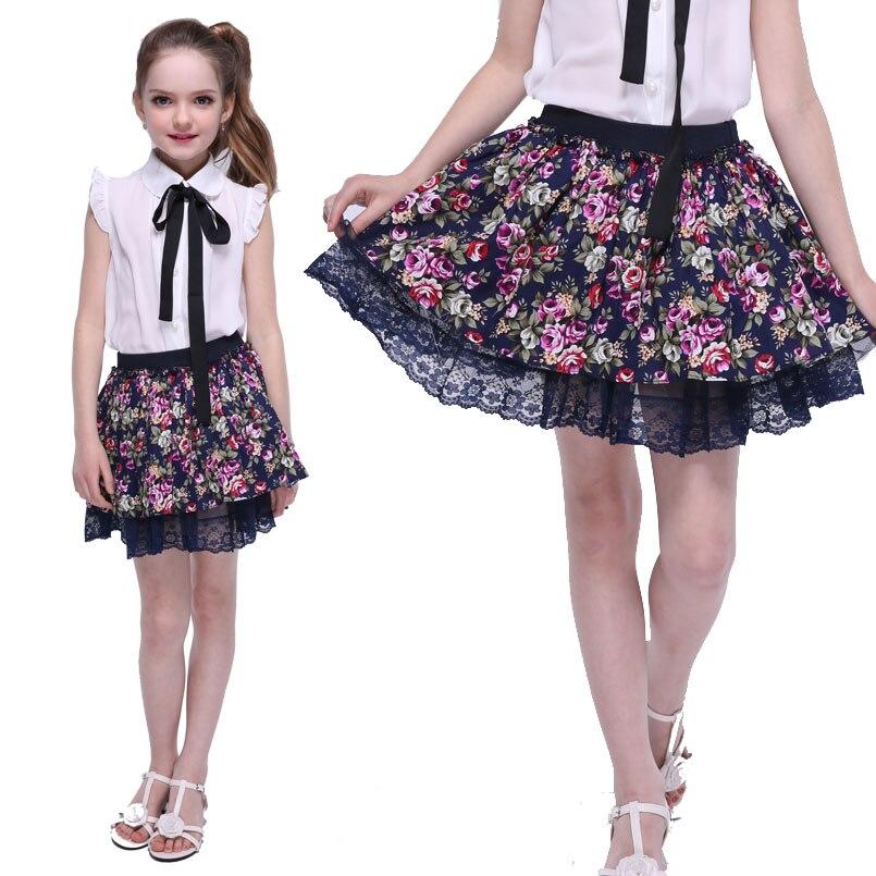 8b53fb85d € 9.04 29% de DESCUENTO|Faldas tutú para niñas faldas con estampado Floral  ropa de verano para niñas y niños faldas de encaje con cintura ...