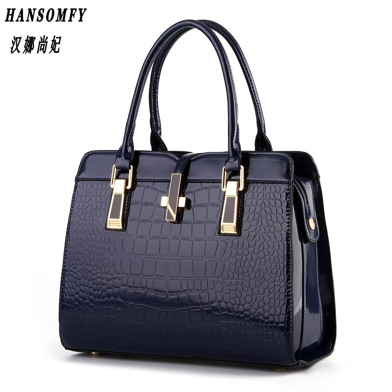 100% Véritable cuir Femmes sac à main 2018 Nouveau en cuir verni brillant crocodile motif épaule de mode épaule dames sacs