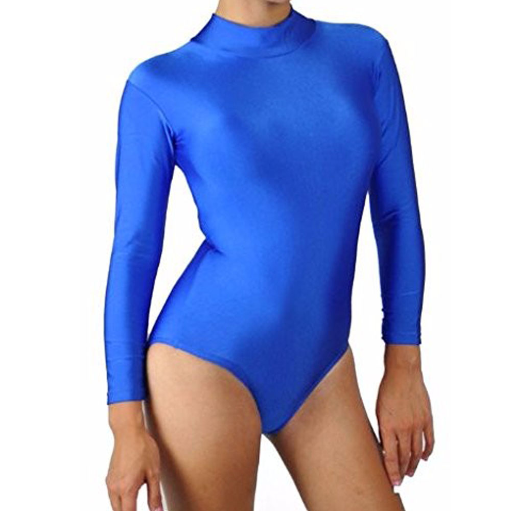 2019 New Style Womens Mock Neck Long Sleeve Ballet Dance Leotards Adult Royal Blue Stretchy Leotard Jumpsuit Leotards Team Basics Girls Lustrous Surface Novelty & Special Use