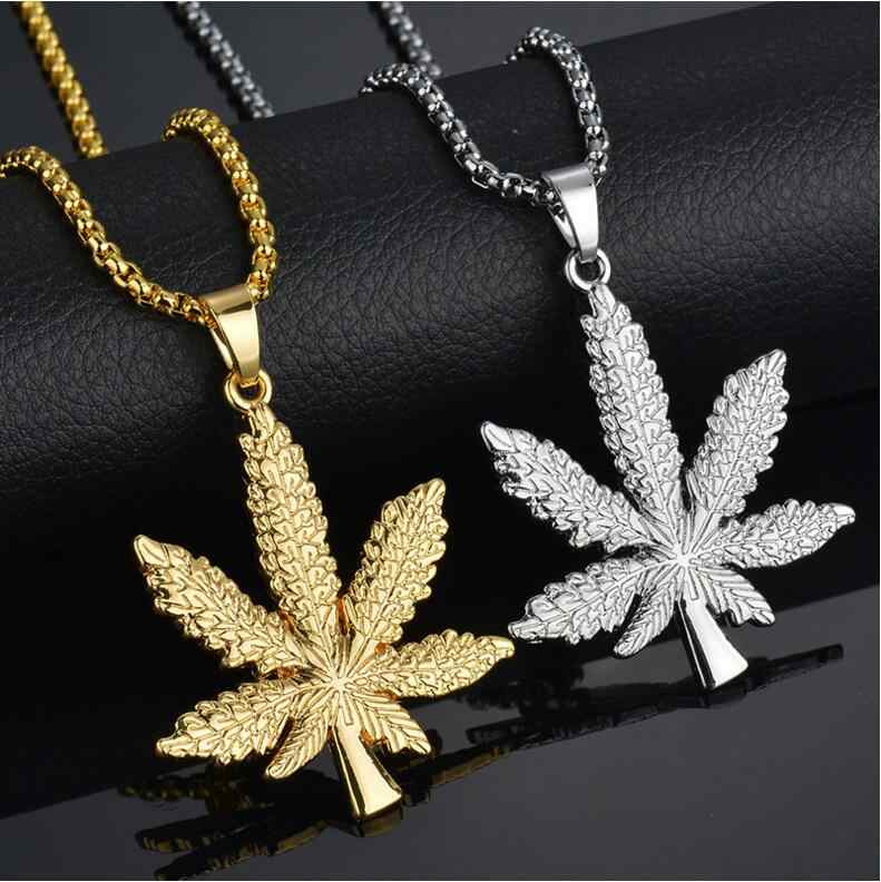 New 2019 Gold Silver Plated Cannabiss Small Weed Herb Charm Necklace Maple Leaf Pendant Necklace Hip Hop Jewelry Wholesale