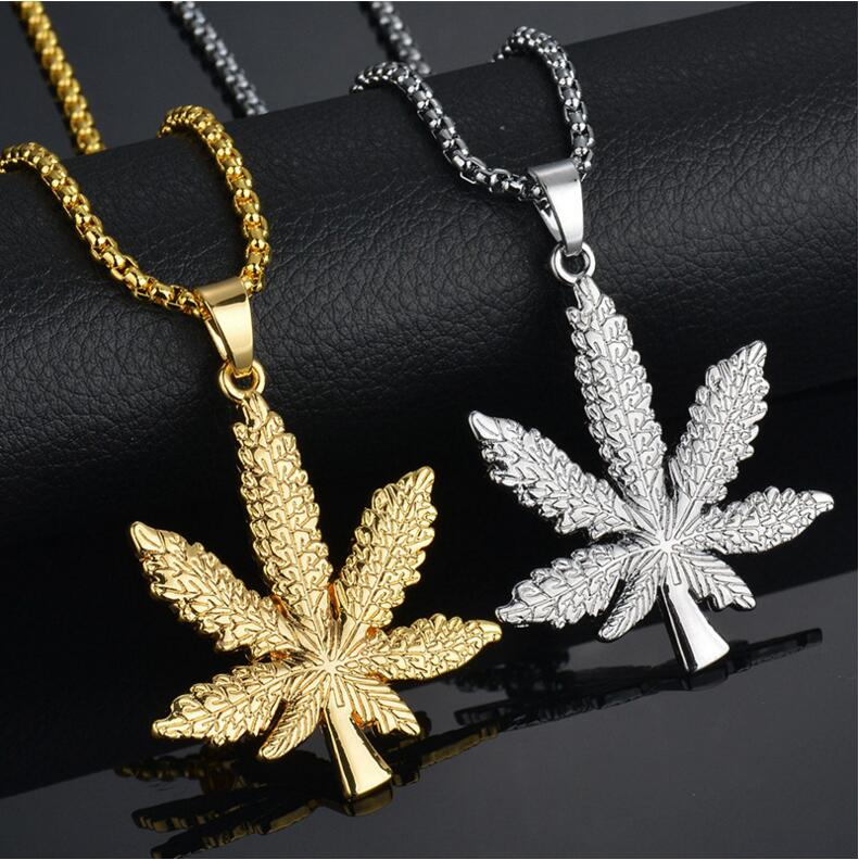 New 2019 Gold Silver Plated <font><b>Cannabiss</b></font> Small Weed Herb Charm Necklace Maple Leaf Pendant Necklace Hip Hop Jewelry Wholesale image
