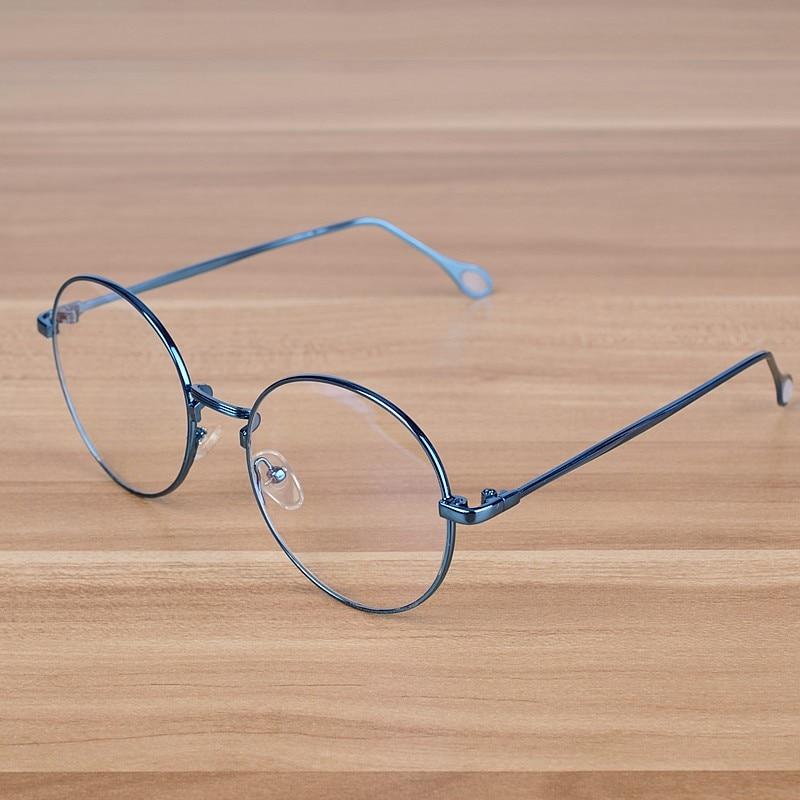 NOSSA Pink Vintage Round Eyeglasses Retro Women's Myopia Spectacle Frames Men's Prescription Copper Eyewear Frame Clear Glasses
