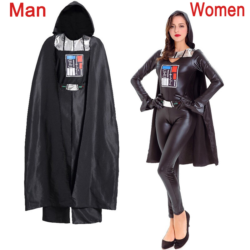 adult women halloween darth vader costume star wars character anakin skywalker jumpsuit cosplay pvc hooded robe - Halloween Darth Vader