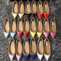 Spring and autumn rivet flat trend women's leather shoes wholesale studded casual flat candy color spike flat shoes 35-40