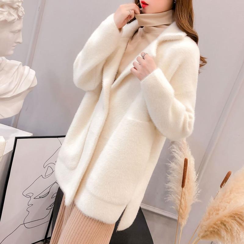Korean Style Big Pockets Imitated Mink Wool Coat Step Collar Loose Slim Look Thick Long Jacket