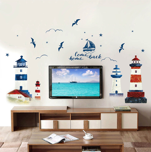 Image 2 - 60*90CM Room Decoration Mediterranean Lighthouse Wall Sticker PVC Background Decoration Sticker For Wall Decor