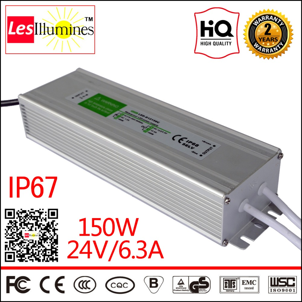 Waterproof AC DC 110V 220V 24V LED Strip Light Driver Transformer IP67 CE Approval 24V 6.25A 150W Switching Power Supply Outdoor 90w led driver dc40v 2 7a high power led driver for flood light street light ip65 constant current drive power supply
