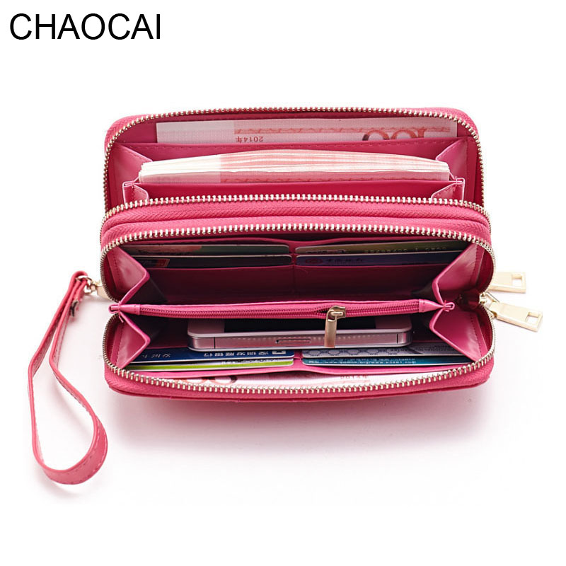 Fashion Women wallets Genuine Leather Wallet two double zipper design cowhide purse female clutch card holder bags with strap simline fashion genuine leather real cowhide women lady short slim wallet wallets purse card holder zipper coin pocket ladies