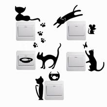5pcs Removable Cute Lovely Cat Switch Wall Sticker Vinyl Decal Home Decor baby room wallpaper for kids room free shipping