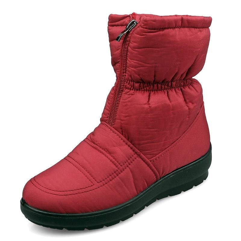 Winter Women Boots Female Waterproof Ankle Boots Down Warm Snow Boots Ladies Shoes Woman Zipper Fur Botas