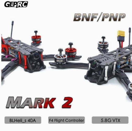 GEPRC GEP Mark2 Mark 2 Freestyle FPV Carbon Fiber Frame Kit Blheli-s 40A F4 Flight Control 5.8G VTXGEPRC GEP Mark2 Mark 2 Freestyle FPV Carbon Fiber Frame Kit Blheli-s 40A F4 Flight Control 5.8G VTX