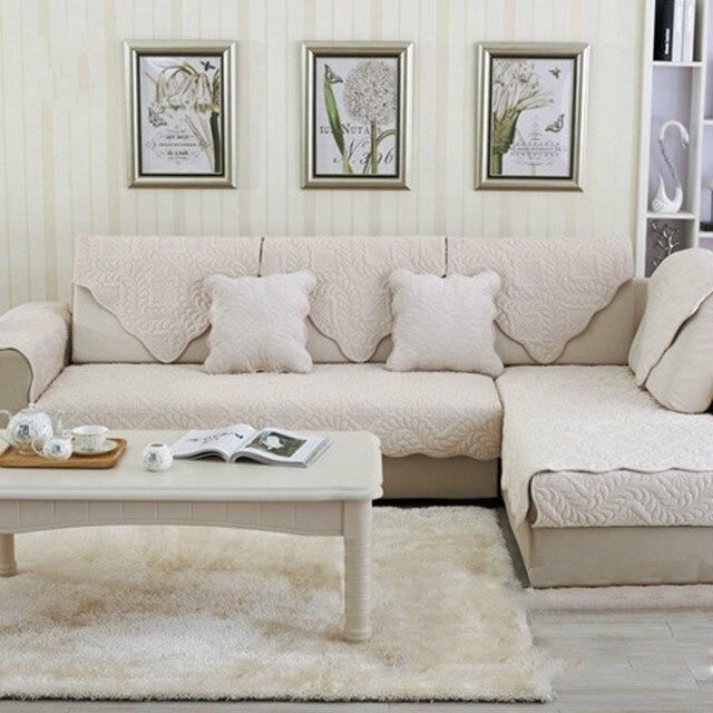 Gris Beige floral acolchado sofá de felpa cubierta slipcovers ...