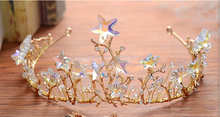 wedding romantic gold metal with crystal star glass beads handmade knitted  hair crown bride party hair jewelry hair accessories